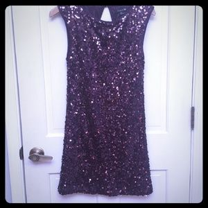 Purple Sequin Mini Dress M